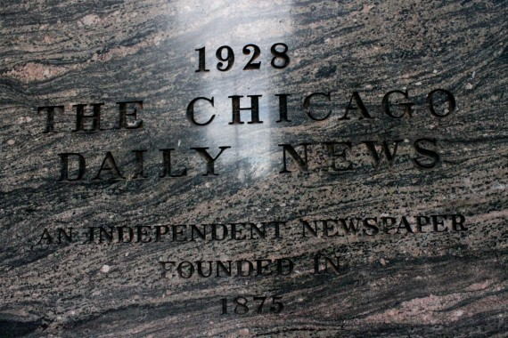 Day 92: Inscribed sign where the Chicago Daily News use to be printed